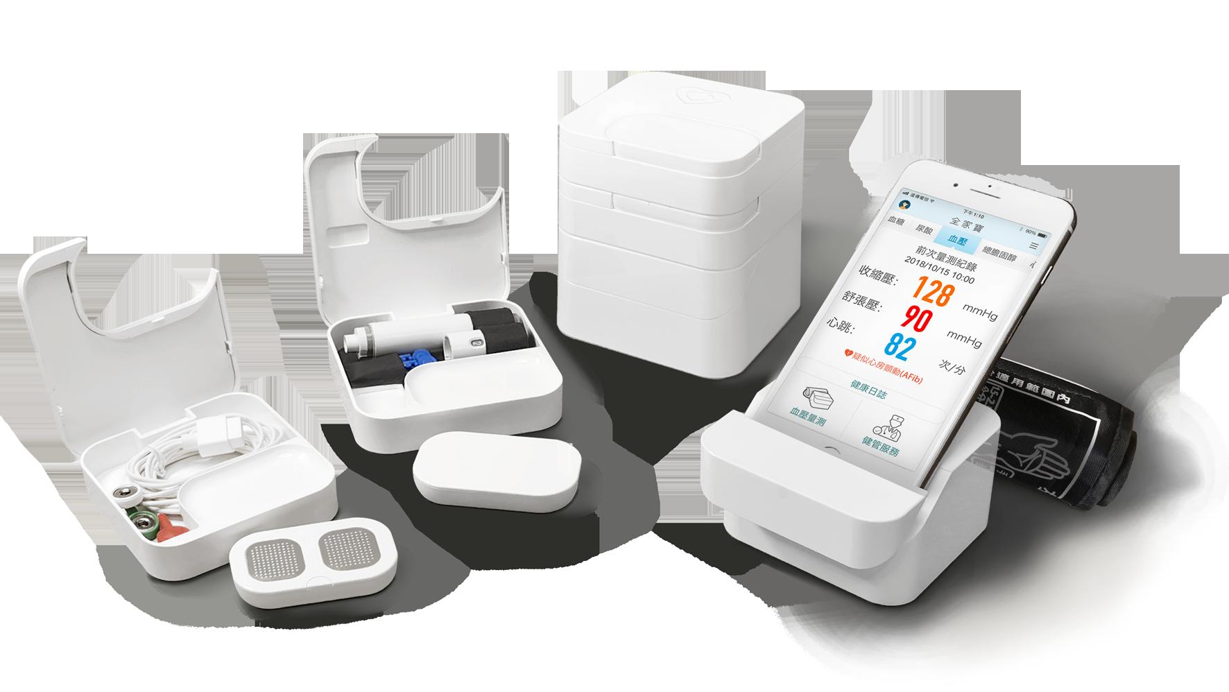 台塑生醫i醫健康診所/健康管理中心 全家寶 南山人壽 三機一體 全家寶 套裝設備 電子血壓計 血糖、總膽固醇、尿酸監測系統 心電圖機