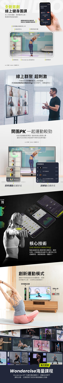 台塑生醫i醫健康診所/健康管理中心 全新首創線上健身團課 線上群聚超刺激 開團PK一起運動較勁 核心技術 Live Motion Matching 創新運動模式 Wondercise海量課程 每月更新